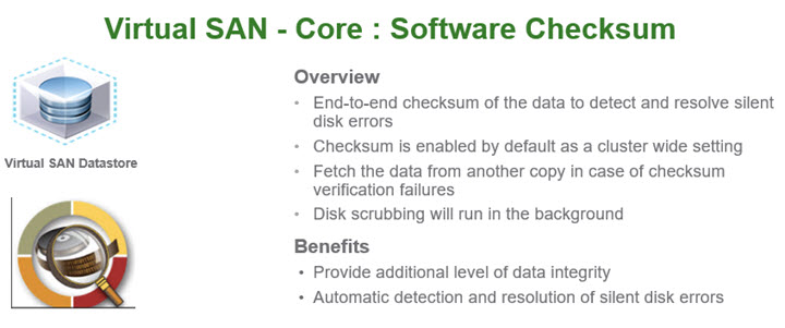 VMware VSAN 6.2 - Software Checksum