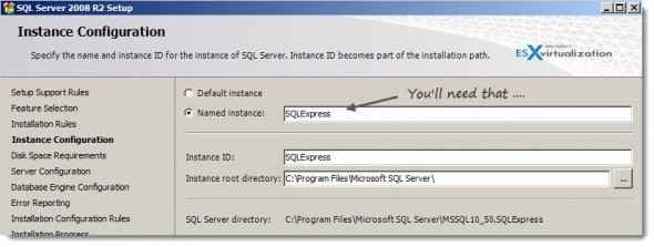 sql express named instance 590x223 VMware Mirage Installation   the lab setup