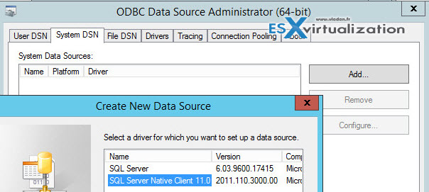 ODBC Connection to Horizon View Composer Database