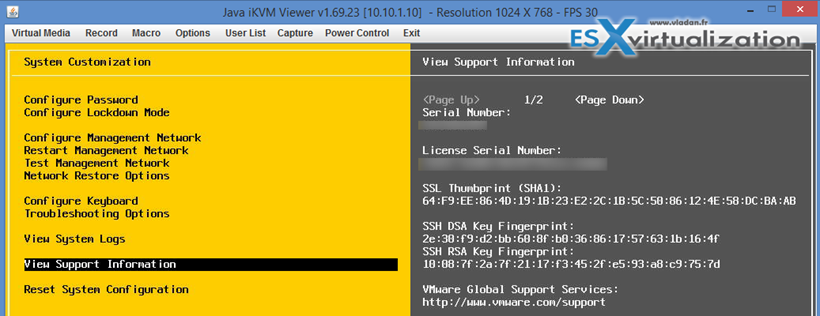 ssl thumbprings VMware ESXi