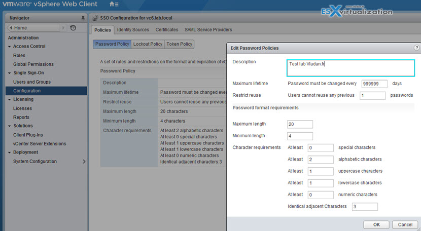 VMware vCenter SSO Password Policy