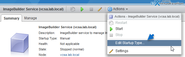 Verify that the vSphere ESXi Image Builder service is enabled and running. See Configure the vSphere ESXi Image Builder Service Startup Type. ■ Add or import a software depot to the vSphere ESXi Image Builder inventory. See Add a Software Depot and Import a Software Depot. Procedure 1 On the vSphere Web Client Home page, click Auto Deploy. By default, only the Administrator role has privileges to use the vSphere ESXi Image Builder service. 2 On the Software Depots tab, select the software depot that contains the image profile that you want to work with. 3 From the list of image profiles in the depot, select the image profile that you want to clone and click Clone. 4 Enter an image profile name, vendor, and description. You must enter a unique image profile name. 5 From the Software depot drop-down list, select in which custom depot to add the new image profile and click Next. 6 (Optional) From the drop-down list, select an acceptance level for the image profile. 7 From the Available tab, select the VIBs that you want to add to the image profile and deselect the ones that you want to remove. You can view the VIBs that will be added to the image profile from the Selected tab. You can filter the VIBs by software depot from the Software depot drop-down list on the Available tab. Note The image profile must contain a bootable ESXi image to be valid. 8 Click Next. vSphere ESXi Image Builder verifies that the change does not invalidate the profile. Some VIBs depend on other VIBs and become invalid if you include them in an image profile separately. When you add or remove a VIB, vSphere ESXi Image Builder checks whether the package dependencies are met. 9 On the Ready to complete page, review the summary information for the new image profile and click Finish.
