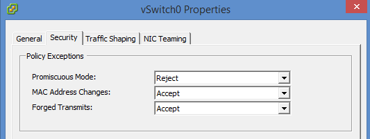 VMware Network security Policy at the switch level