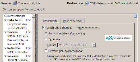 VMware converter used to synchronize changes