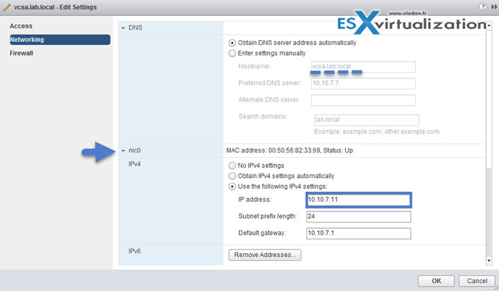 VMware VCSA - Change IP address