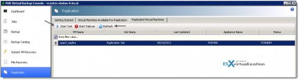PHD Virtual 6.0 - testing failover button