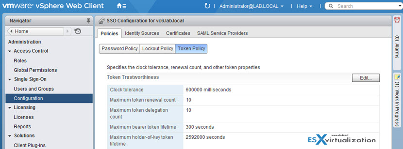 Token policy – specifies the clock tolerance, renewal count, token delegation count, and other token properties.