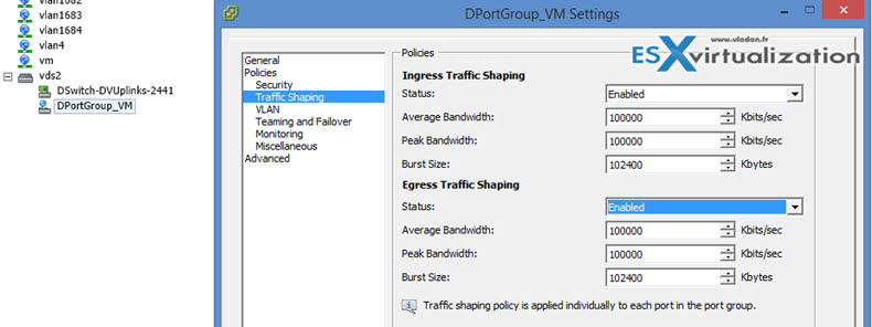 VDS traffic shaping policies