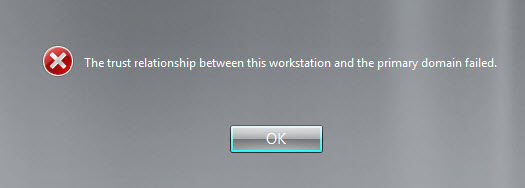 the trust relationship between this computer and domain failed vm