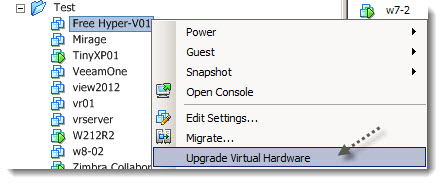 upgrade virthardware How to run Hyper V on ESXi