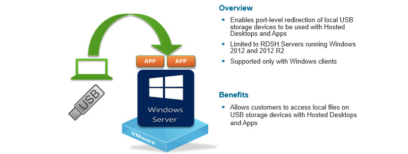 The USB Storage Device Redirection with Hosted Desktops and Aapplications