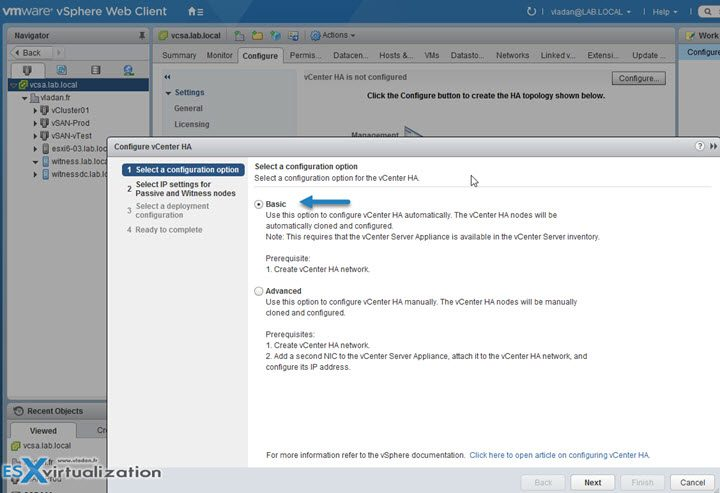 How to configure vCenter HA with Basic Option