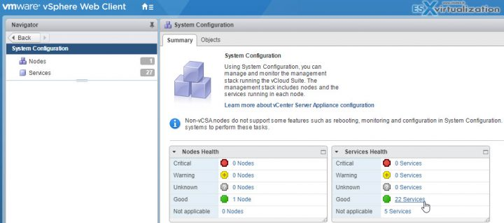 VCP6.5-DCV Objective 7.1 – Troubleshoot vCenter Server and ESXi Hosts - vCenter Services health