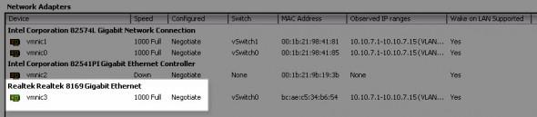vSphere 5.0 running with Realtek 8169