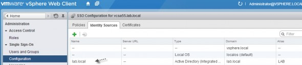 vSphere 5.5 and configuring Windows Active directory authentication