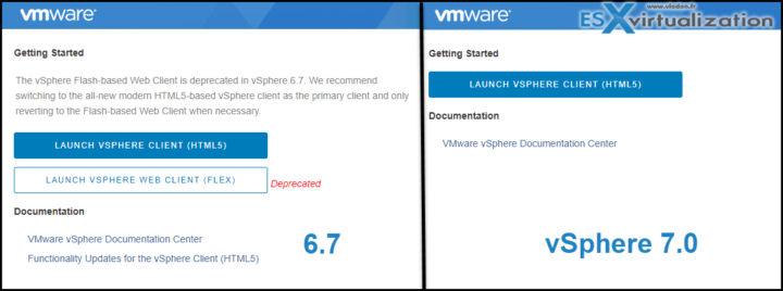 vSphere 7 and 6.7 client difference