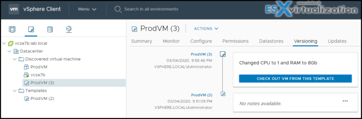 vSphere 7 Content Library and Versioning