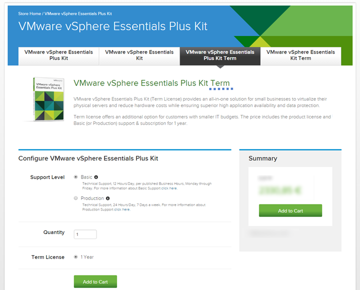 vSphere Essentials Plus Term
