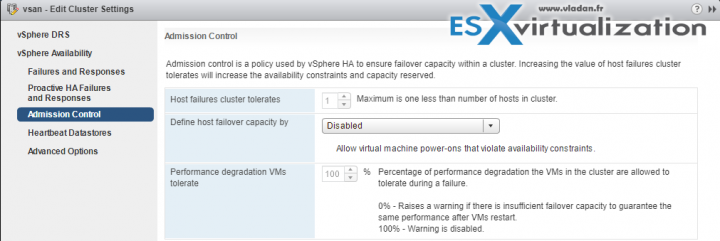 vSphere HA Admission control Disabled