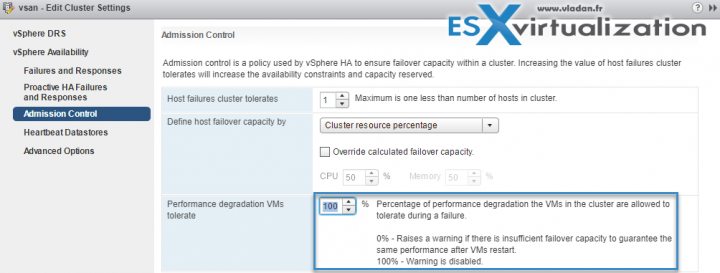vSphere HA Admission control - warning for performance degradation