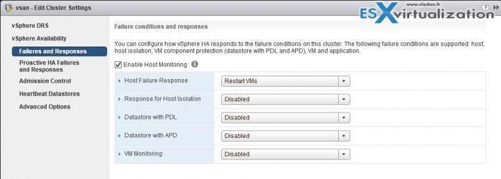 vSphere HA failure conditions