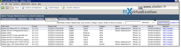 Manually import patches into Patch Repository in vSphere Update Manger