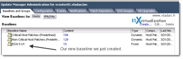 How to select patches to be part of a baseline in vSphere Update Manager