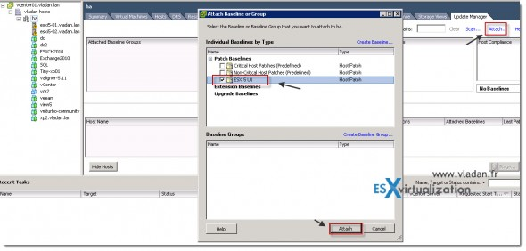 How to Update VMware vSphere 5 to vSphere 5 Update 1 - Select host or cluster and attach baseline in vSphere Update Manager