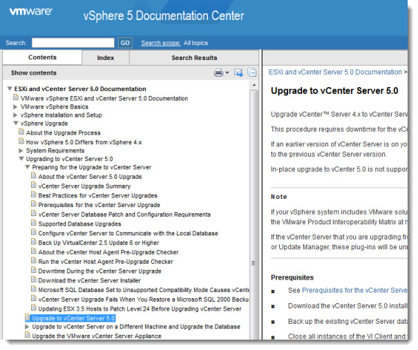 vSphere documentation center vSphere 5   The official documentation in many different formats is available now