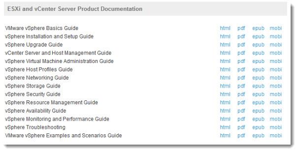VMware vSphere 5 Documentation Sets - new formats introduced