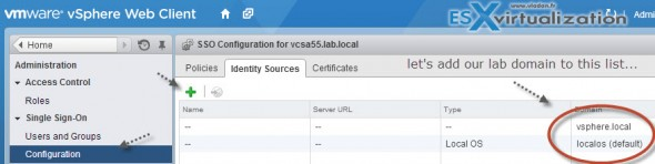 vSphere 5.5 configuring SSL and SSO centralized logging