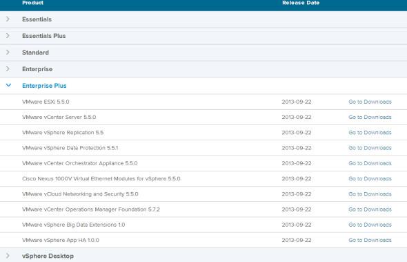 vSphere5.5 download available -VMware vCloud Suite 5.5, ESXi 5.5