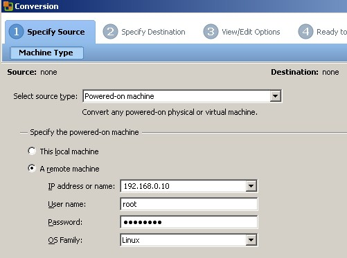 vcenter converter1 How to P2V linux into VMware ESX Server