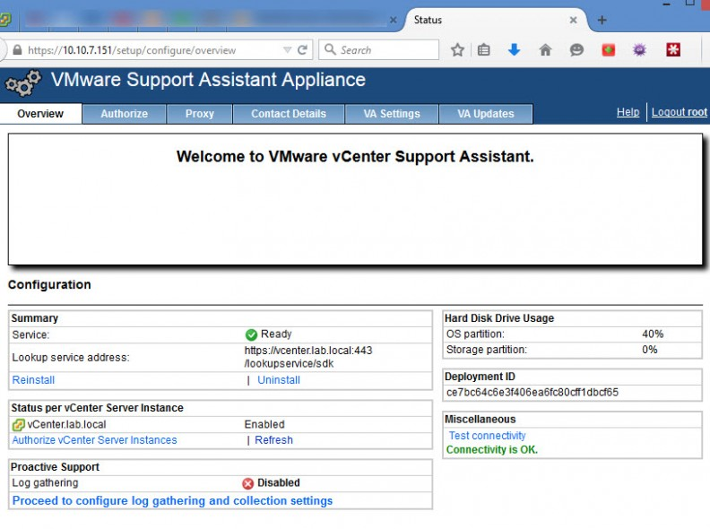 vCenter Support Assistant
