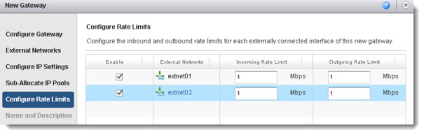vCloud Director 5.1 Gateway options