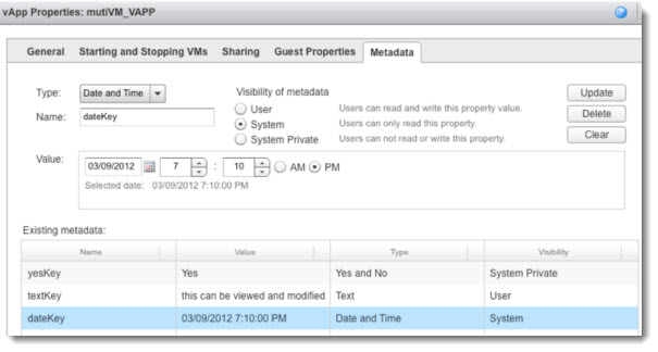 vCloud Director 5.1 vApp Properties