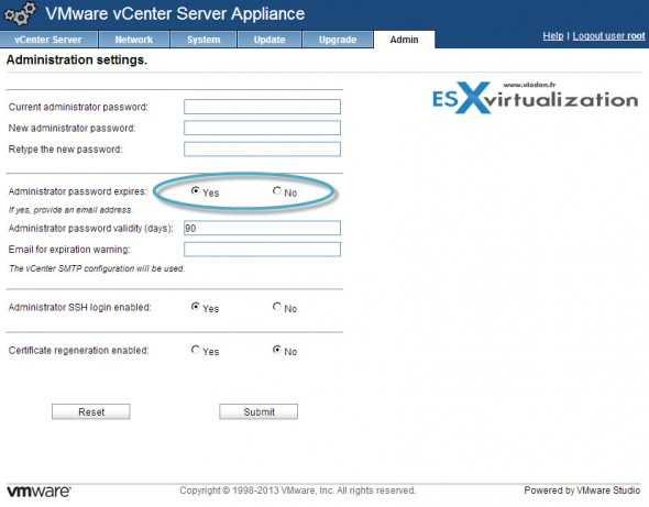 vCenter Server Appliance Password Policy settings