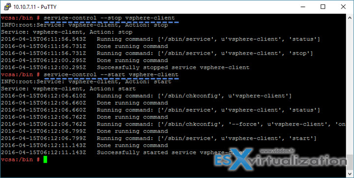 VMware VCSA - restart services via SSh