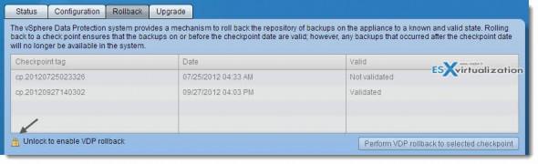 vSphere Data Protection (VDP) - configuration options