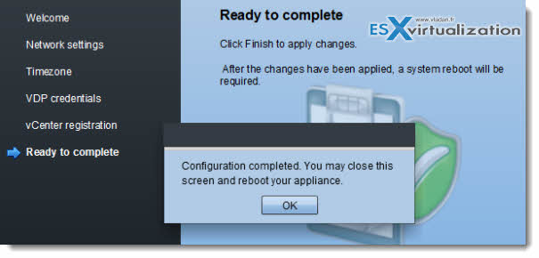 vSphere Data Protection - configuration of the backup product