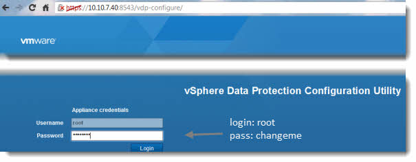 vSphere Data protection - connection via the web browser