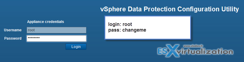 Default login and password for vSphere data protection