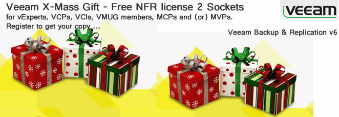 Veeam Offers Free NFR for VCPs, MCPs, VCIs, vExperts, VMUG and MVPs – a nice holiday gift