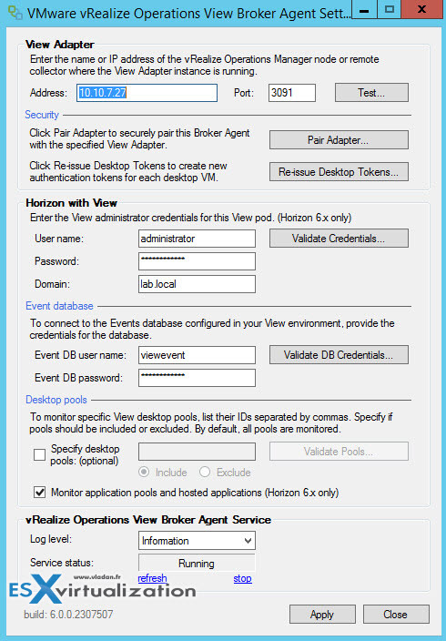 VMware vROPS View Broker Agent Configuration Wizard
