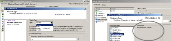 VMware Workstation 10 vs vSphere client - Virtual Network Cards Options