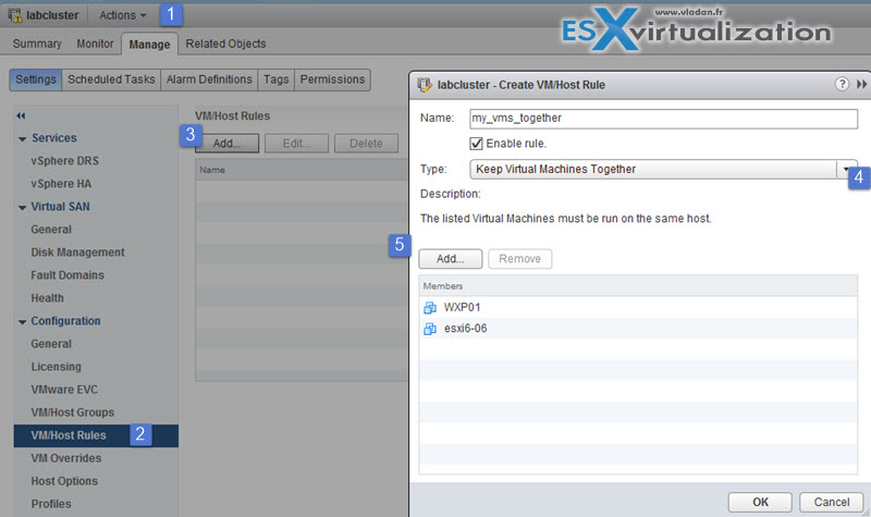 VM/host DRS affinity and anti affinity rules vSphere 6