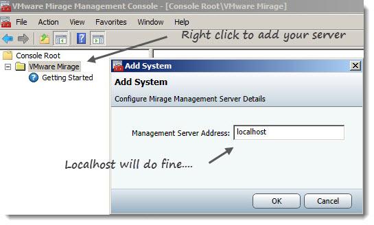 VMware Mirage Console configuration