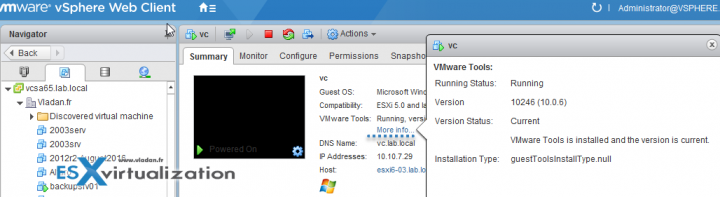 VMware Tools has more relevant Information in vSphere 6.5