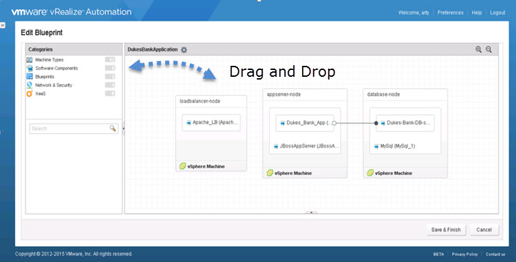 Drag and Drop within the Converged Blueprint Designer (CBP)