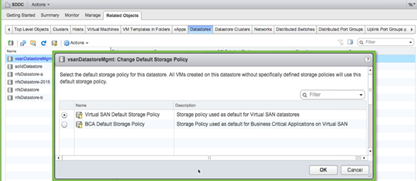 VMware VSAN default policy